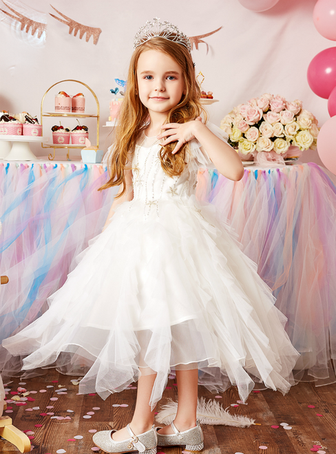 Discover The Latest White Ball Gown Tulle Beading Tea Length Flower Girl Dress