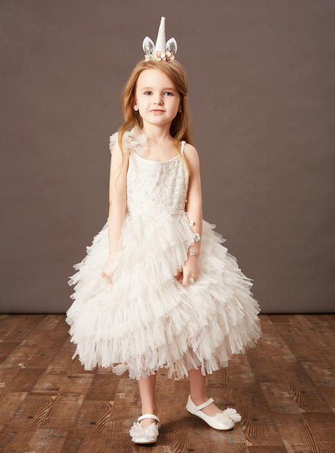 Purchase Your Favorite White Tulle Spaghettti Straps Tiers Beading Flower Girl Dress