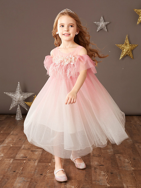 We Provide Pink Tulle Cold Shoulder Feather Tea Length Flower Girl Dress