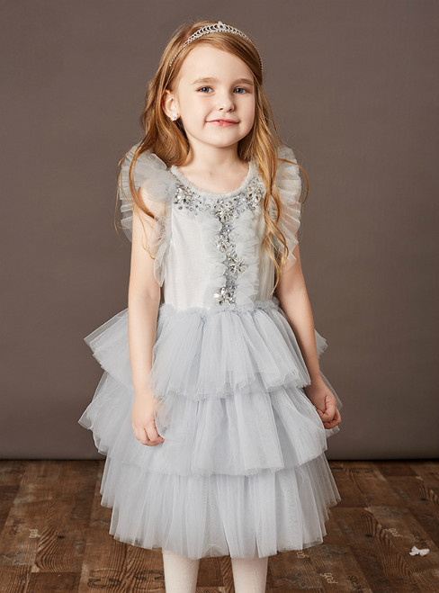 You Are Sure To Find The Perfect Gray Tulle Tiers Beading Crystal Flower Girl Dress With Shawl