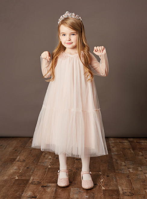 The Worldwide Shipping Online Store A-Line Pink Tulle Long Sleeve Tea Length Flower Girl Dress