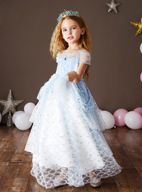 At Great Prices A-Line Light Blue Tulle Sequins Long Flower Girl Dress