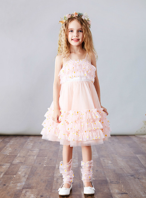 For Your Big Night A-Line Pink Tulle Tiers Knee Length Daisy Flower Girl Dress