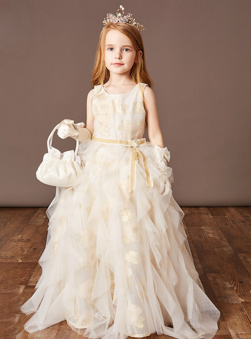 Available In Sizes 0-24 Champagne Ball Gown Tulle Embroidery Flower Girl Dress