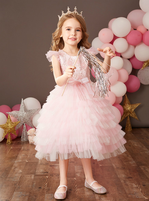 Find Your Dress For Prom! Princess Pink Ball Gown Tiers Sequins Flower Girl Dress