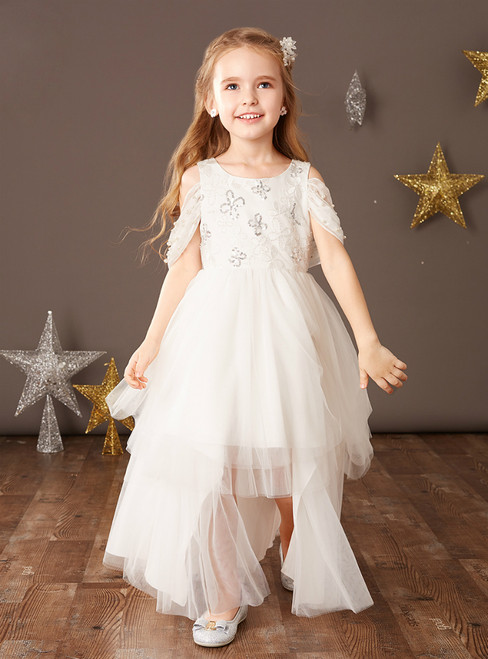 Best For You White Tulle Hi Lo Beading Sequins Flower Girl Dress