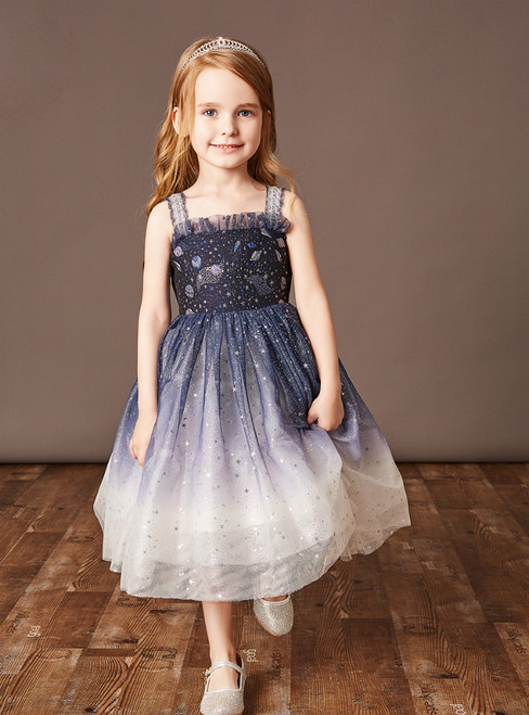 Get Your Discounts Navy Blue Tulle Straps Sequins Tea Length Flower Girl Dress