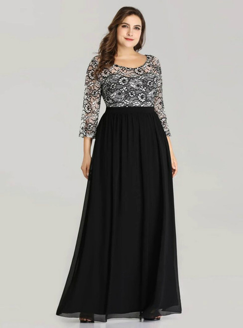 Make Your Prom a Dream Black Chiffon Lace Long Sleeve Bateau Plus Size Prom Dress
