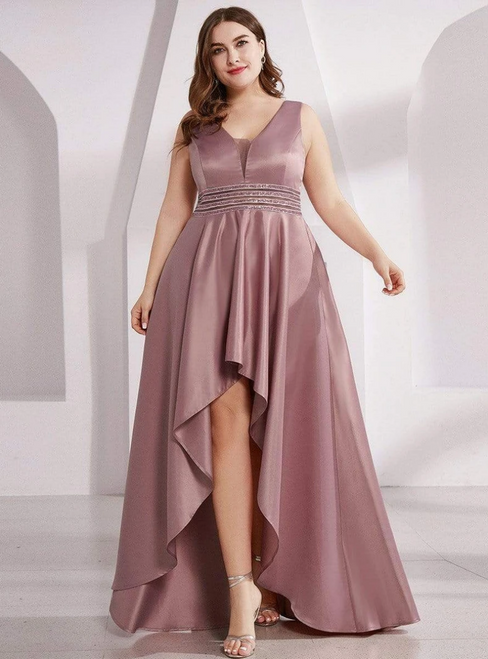 To Choose From Purple Orchid Hi Lo V-neck Beading Plus Size Prom Dress