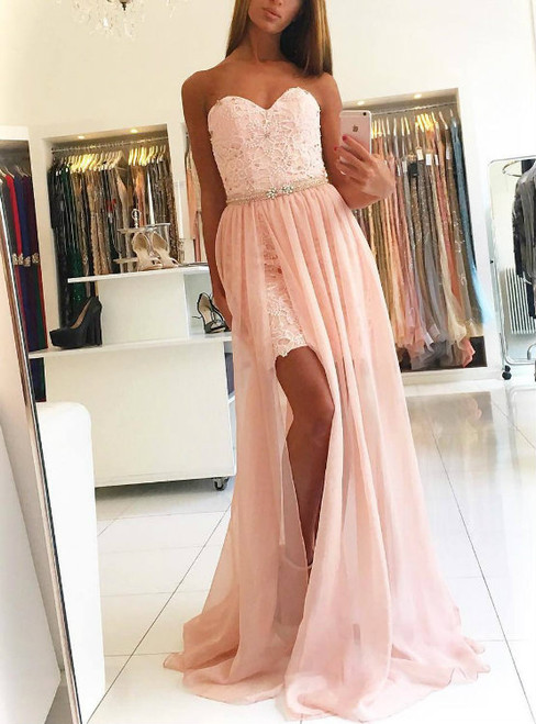 Beaded Pink Lace Sweetheart Prom Dresses Party Gowns with Long Overlay Chiffon Skirt