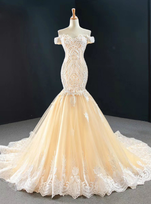 Purchase Your Favorite Champagne Mermaid Tulle Appliques Beading Off the Shoulder Prom Dress