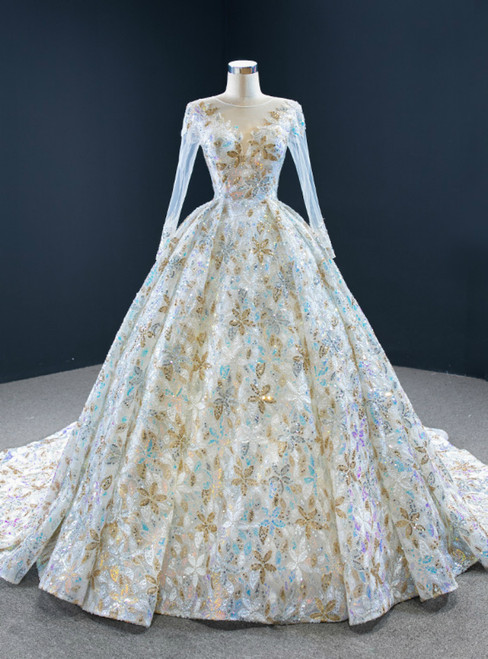 We Provide Colorful Sequins Ball Gown Long Sleeve Pleats Wedding Dress