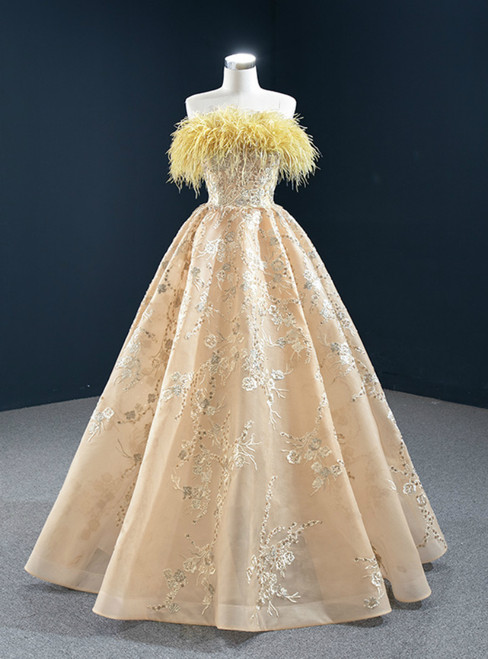 You Are Sure To Find The Perfect Champagne Tulle Embrodiery Strapless Feather Prom Dress