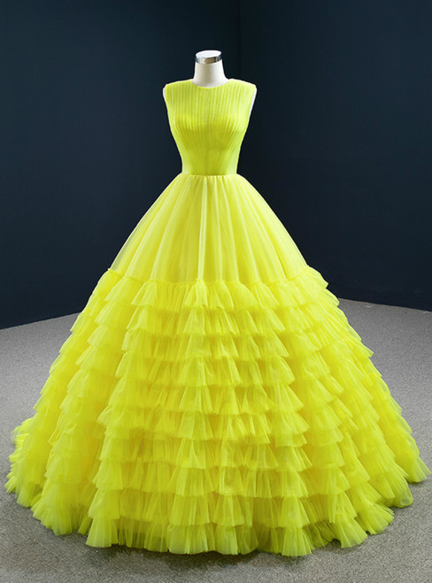 The Worldwide Shipping Online Store Yellow Ball Gown Tulle Pleata Tiers Floor Length Prom Dress