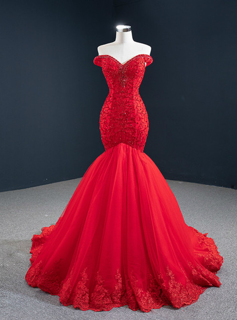 At Great Prices Red Mermaid Tulle Off the Shoulder Handwork Prom Dress