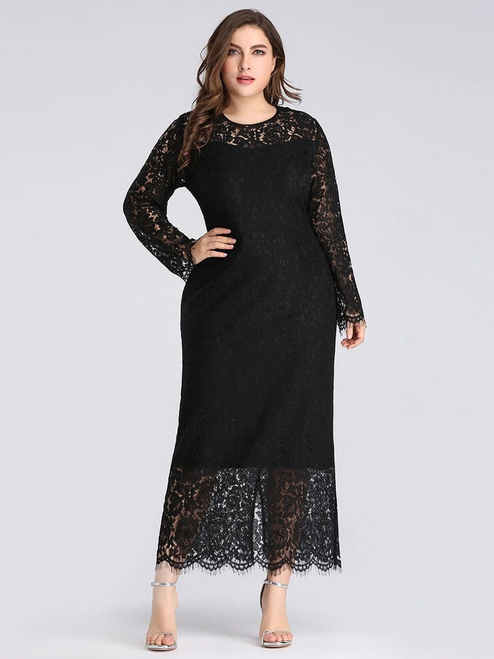 For Your Big Night Black Sheath Lace Long Sleeve Ankle Length Plus Size Prom Dress