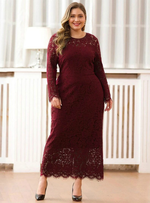 Available In Sizes 0-24 Burgundy Sheath Lace Long Sleeve Ankle Length Plus Size Prom Dress