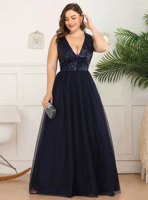 Come In All Styles And Colors Navy Blue Tulle Deep V-neck Sleeveless Plus Size Prom Dress