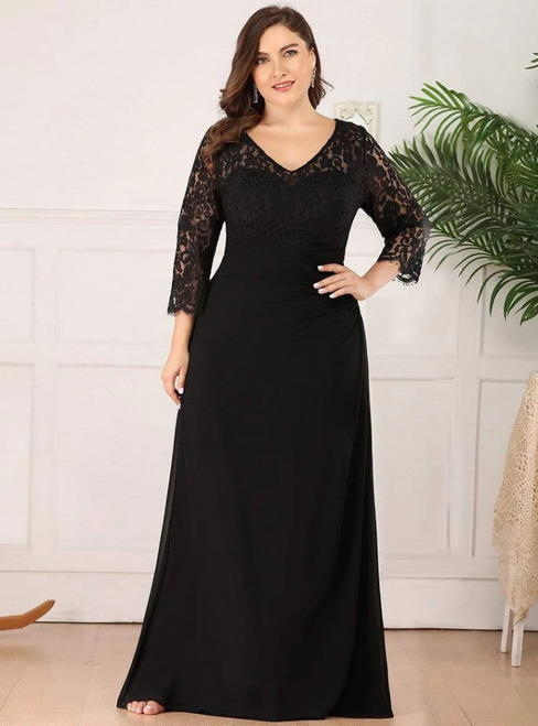Find Your Dress For Prom! A-Line Black Chiffon Lace Long Sleeve Plus Size Prom Dress