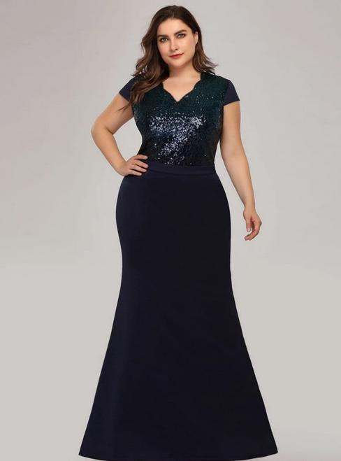 Navy Blue Mermaid Satin Sequins V-neck Cap Sleeve Plus Size Prom Dress