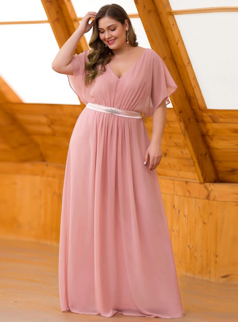 Purchase Your Favorite Mauve Chiffon V-neck Short Sleeve Plus Size Prom Dress