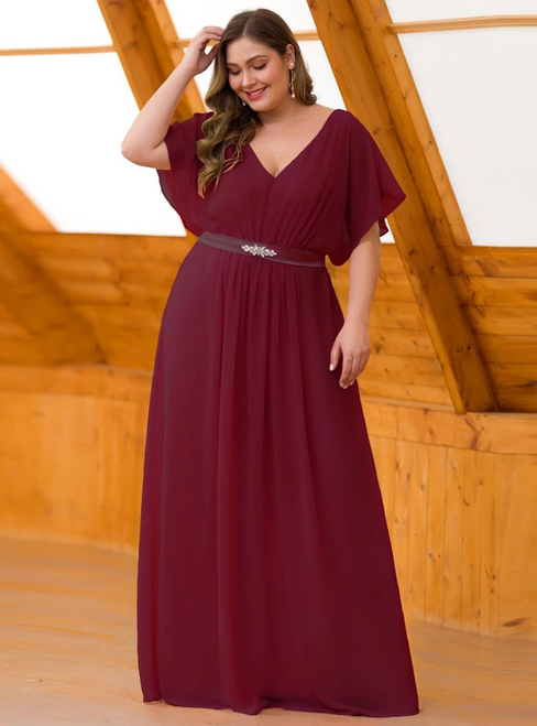 We Provide Burgundy Chiffon V-neck Short Sleeve Plus Size Prom Dress