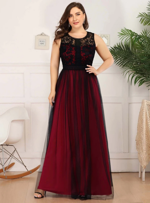 You Are Sure To Find The Perfect Burgundy Tulle Lace Sleeveless Plus Size Prom Dress