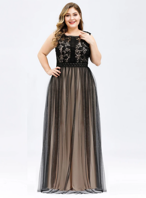 The Worldwide Shipping Online Store A-Line Black Tulle Lace Sleeveless Plus Size Prom Dress