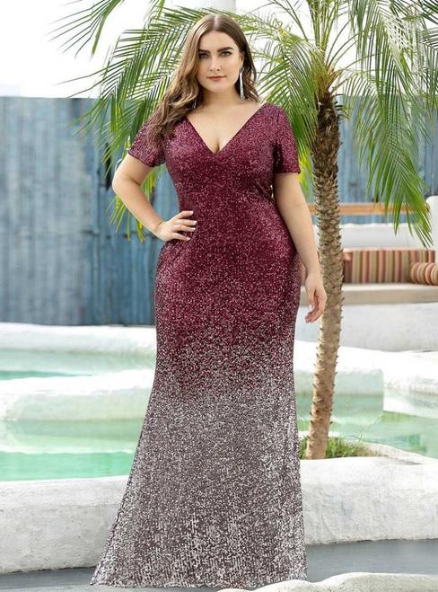 Burgundy Mermaid Sequins Deep V-neck Short Sleeve Plus Size Prom Dress
