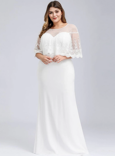 For Your Big Night White Mermaid Lace Illusion Neckline Plus Size Prom Dress
