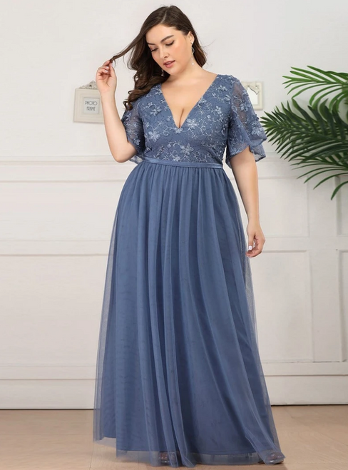 Come In All Styles And Colors Dusty Blue Tulle Deep V-neck Ruffle Sleeve Plus Size Prom Dress