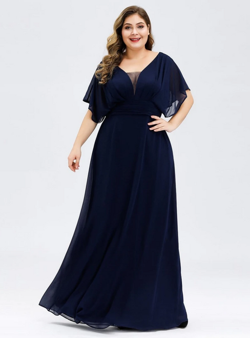 Find Your Dress For Prom! Navy Blue Chiffon V-neck Pleats Plus Size Prom Dress