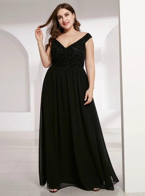 We Provide A-Line Black Chiffon Lace Off the Shoulder Plus Size Prom Dress