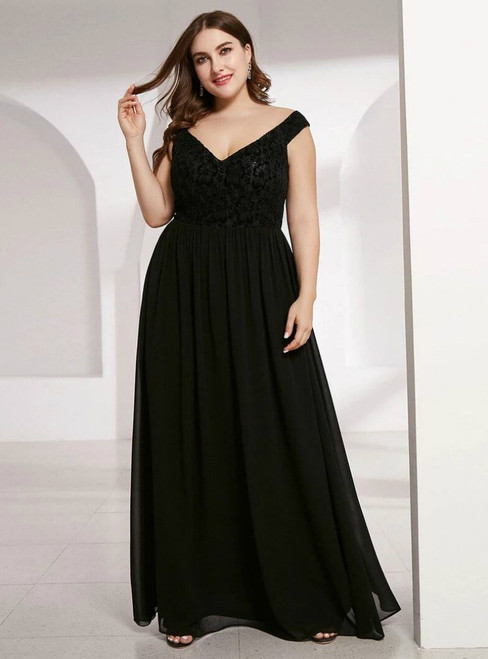 We Provide A-Line Black Chiffon Lace Off the Shoulder Plus Size Prom Dress