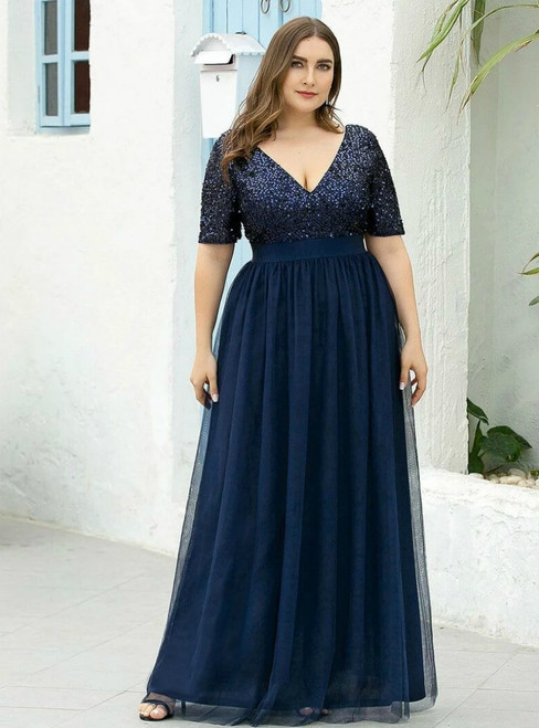 At Great Prices Navy Blue Tulle Sequins V-neck Short Sleeve Plus Size Prom Dress