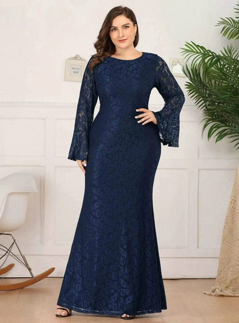 For Your Big Night Navy Blue Mermaid Lace Long Sleeve Plus Size Prom Dress