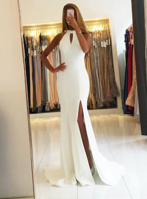 Backless White Chiffon Mermaid Evening Dresses Long Prom Gowns 2017