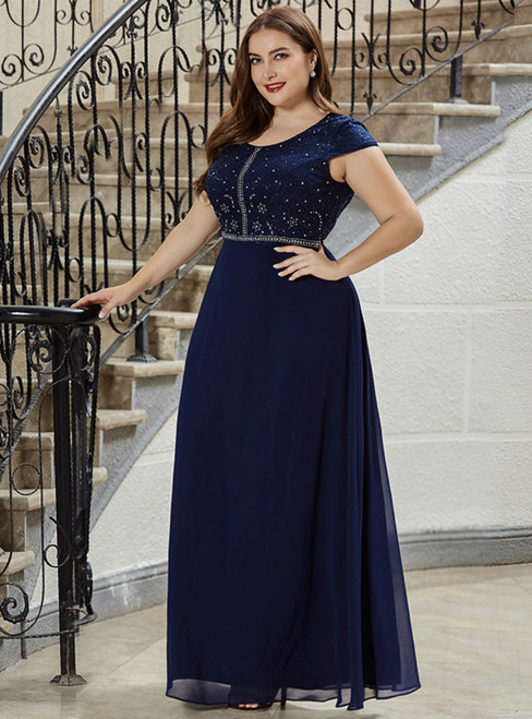 Come In All Styles And Colors Navy Blue Chiffon Cap Sleeve Beading Plus Size Prom Dress