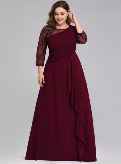 For This Year's Biggest Dance Burgundy Chiffon Lace Long Sleeve Plesta Plus Size Prom Dress