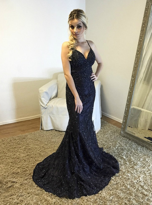 Backless V neck Mermaid Evening Dress with Beaded Lace Appliques