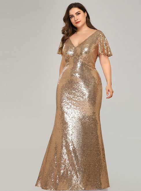 In One Step Gold Mermaid Sequins V-neck Short Sleeve Plus Size Prom Dress