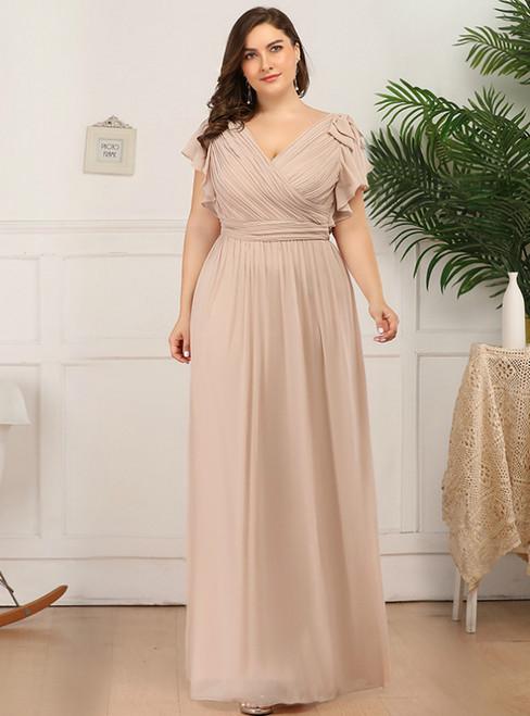 We Provide Champagne Chiffon V-neck Pleats Plus Size Prom Dress