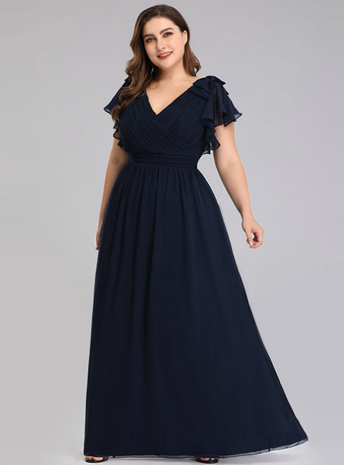 You Are Sure To Find The Perfect A-Line Navy Blue Chiffon V-neck Pleats Plus Size Prom Dress