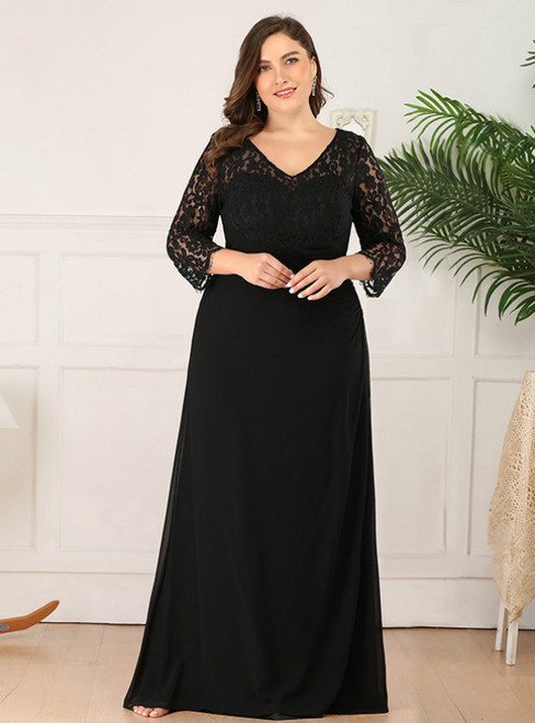 For Your Big Night A-Line Black Chiffon Lace Long Sleeve V-neck Plus Size Prom Dress