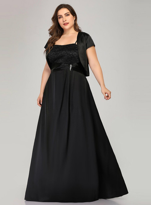 Find Your Dress For Prom! A-Line Black Satin Lace Plus Size Prom Dress With Jacket