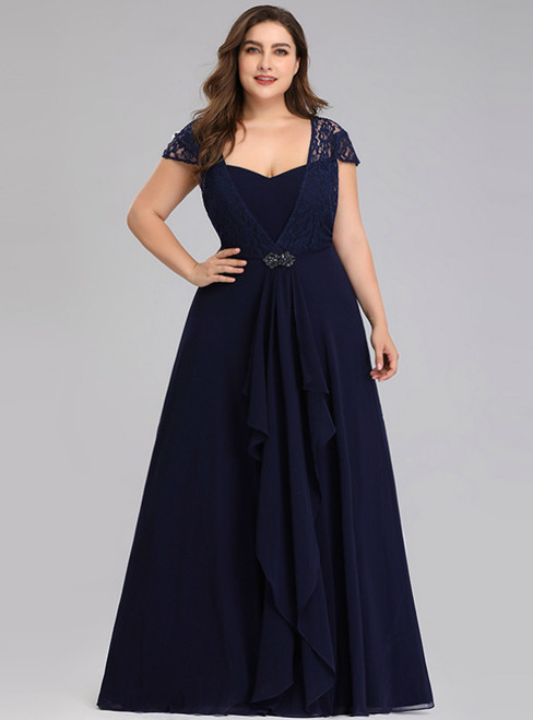 Best For You Navy Blue Lace Chiffon Square Cap Sleeve Plus Size Prom Dress