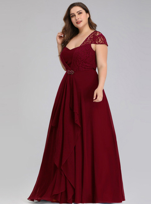 Is Now Available. Burgundy Lace Chiffon Square Cap Sleeve Plus Size Prom Dress