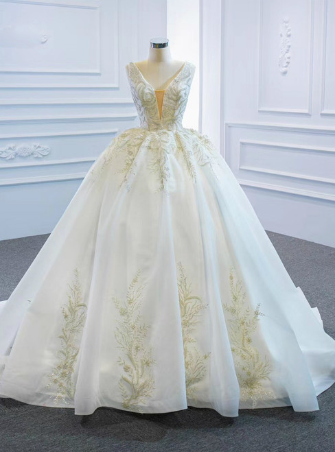 We Provide White Ball Gown Tulle V-neck Beading Sequins Wedding Dress