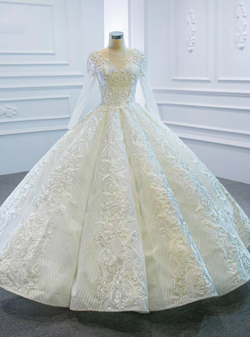 The Worldwide Shipping Online Store White Ball Gown Lace Appliques Long Sleeve Beading Wedding Dress