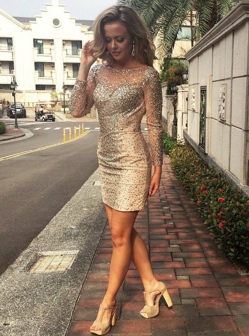 Luxury Crystals Cocktail Dresses Mini Prom Gowns with Long Sleeves 2017